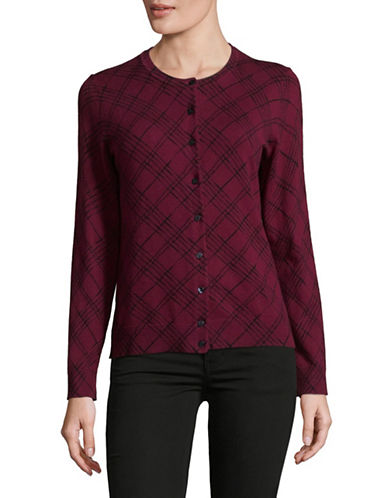 Karen Scott Plaid Strokes Cardigan-RED-Large