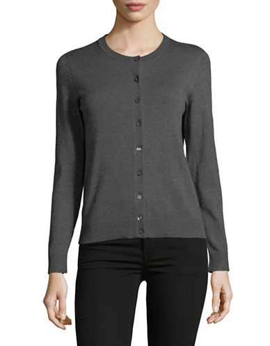 Karen Scott Petite Buttoned Sweater-GREY-Petite X-Small