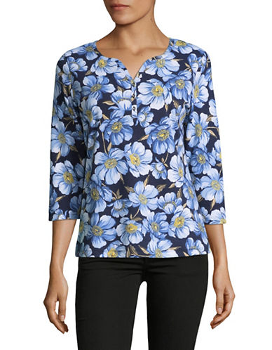 Karen Scott Floral Henley-BLUE MULTI-XX-Large