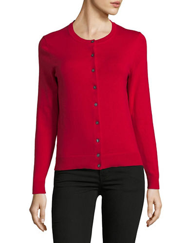 Karen Scott Petite Buttoned Sweater-RED-Petite Small
