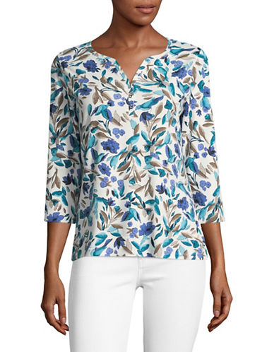 Karen Scott Floral Henley-BLUE MULTI-X-Large