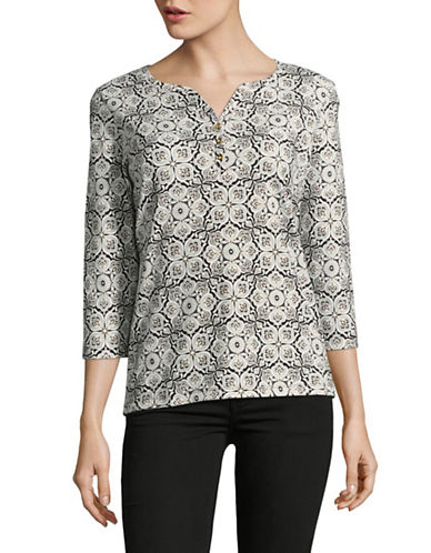 Karen Scott Bohemian Print Top-BLACK-Large