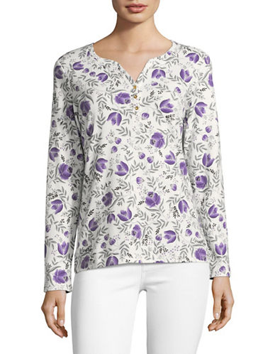Karen Scott Floral Print Shirt-PURPLE-Large