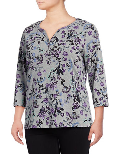Karen Scott Plus Jasper Fleur Three-Quarter Henley-SMOKE GREY-3X