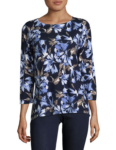 Karen Scott Elegant Garden Top-BLUE-Large