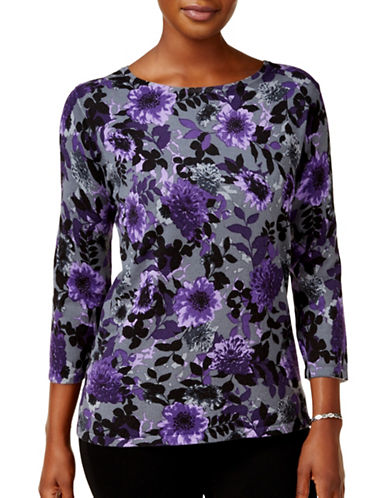 Karen Scott Floral Print Sweater-GREY MULTI-Small