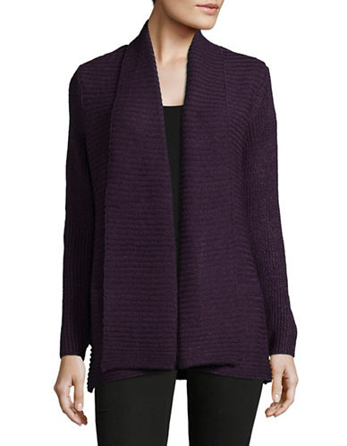 Karen Scott Ottoman Shawl Cardigan-PURPLE-Small