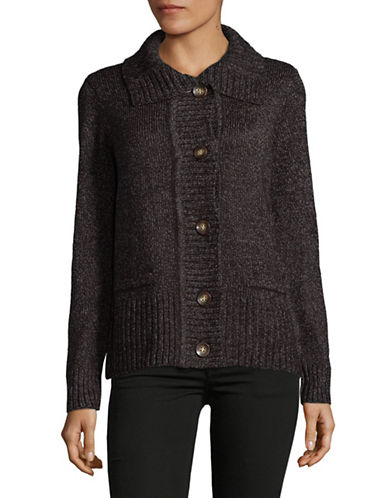 Karen Scott Knit Buttoned Cardigan-BLACK-Small