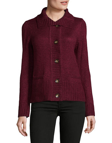 Karen Scott Knit Buttoned Cardigan-RED-Large