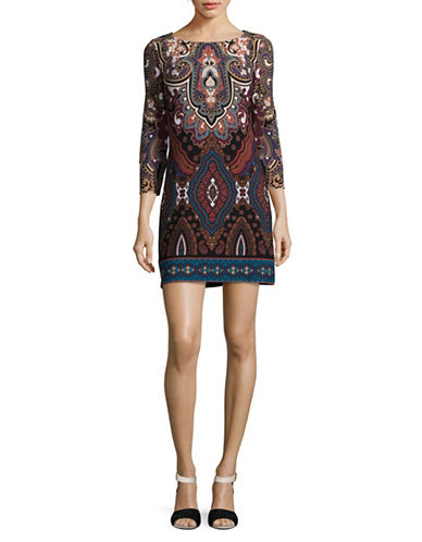 I.N.C International Concepts Petite Boat Neck Printed Sheath Dress-MULTI-Petite Medium