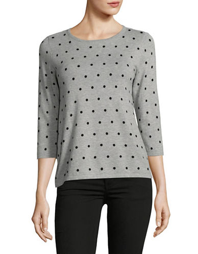 Karen Scott Petite Dot Dream Cardigan-GREY-Petite Small