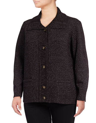 Karen Scott Plus Button Cardigan-BLACK-1X