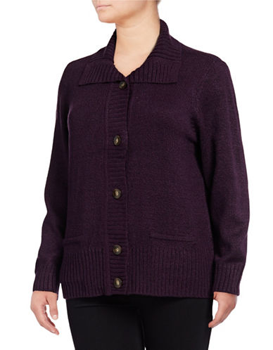 Karen Scott Plus Button Cardigan-PURPLE-1X