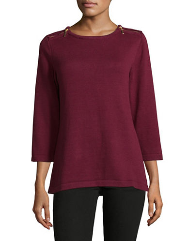 Karen Scott Zip-Shoulder Three-Quarter Cotton Top-RED-Small