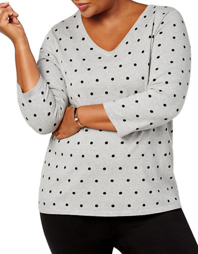 Karen Scott Plus Polka Dot Knit Top-SMOKE GREY-1X