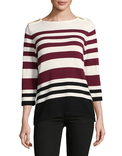 Karen Scott Striped Zip-Shoulder Three-Quarter Top-RED-Medium