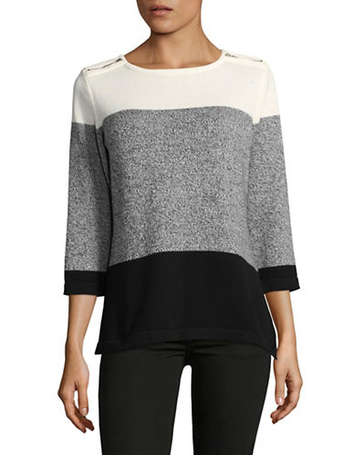 Karen Scott Colourblock Zip-Shoulder Three-Quarter Top-BLACK-Medium