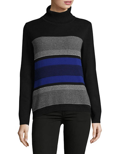 Karen Scott Textured Cotton Sweater-BLUE-Small