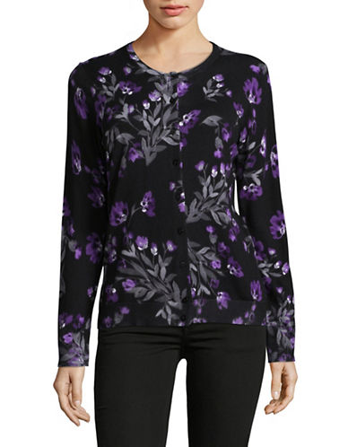 Karen Scott Petite Floral Cardigan-BLACK/PURPLE-Petite Medium