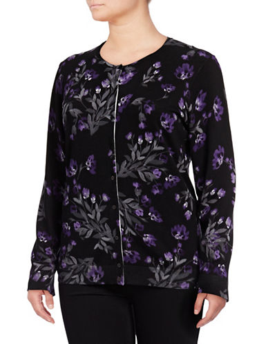 Karen Scott Plus Floral Cardigan-DEEP BLACK-3X 89468996_DEEP BLACK_3X