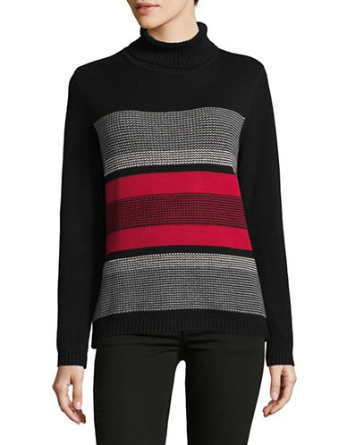 Karen Scott Striped Cotton Turtleneck Sweater-RED-Large