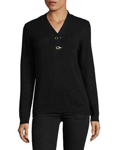 Karen Scott Classic Knit Cotton Henley-BLACK-Medium