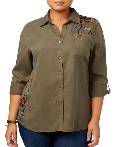 Style And Co. Plus Embroidered Shirt-GREEN-1X