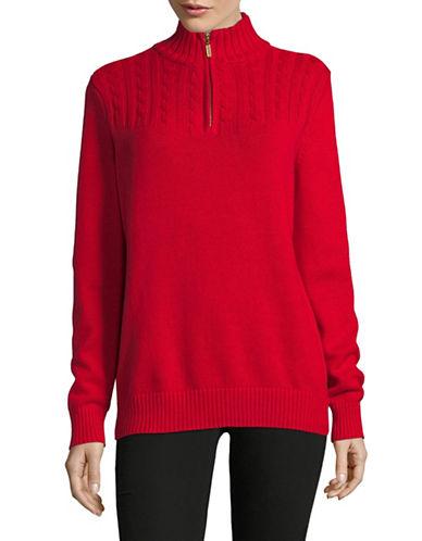 Karen Scott Quarter-Zip Mock Neck Sweater-RED-Large