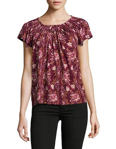 Style And Co. Petite Floral Print Pleated Top-RED-Petite Small