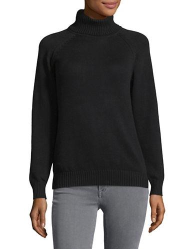 Karen Scott Petite Cotton Turtleneck Sweater-BLACK-Petite Medium