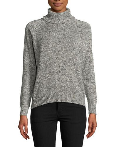 Karen Scott Petite Marl Turtleneck Cotton Sweater-GREY-Petite X-Small