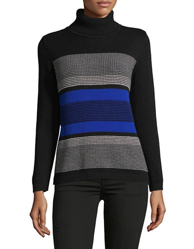 Karen Scott Petite Striped Cotton Turtleneck Sweater-BLUE-Petite Medium