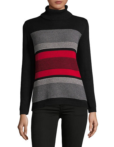 Karen Scott Petite Striped Cotton Turtleneck Sweater-RED-Petite Medium