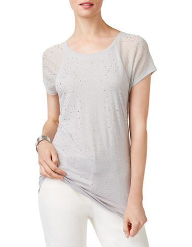 I.N.C International Concepts Studded Illusion Sleeve Tee-GREY-Small