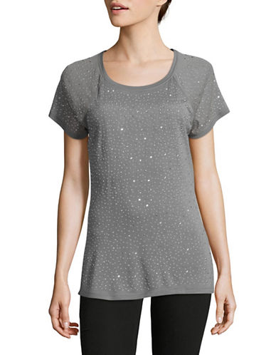 I.N.C International Concepts Petite Studded Illusion Sleeve Raglan Tee-GREY-Petite Medium