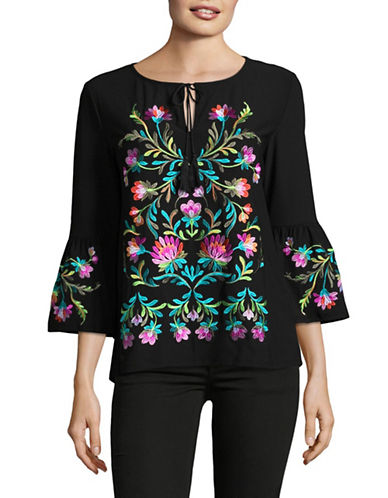 I.N.C International Concepts Embroidered Cold-Shoulder Top-BLACK-Small