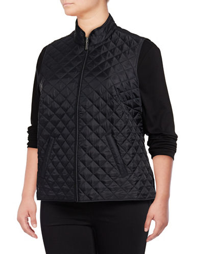 Karen Scott Plus Quilted Puffer Vest-BLACK-3X