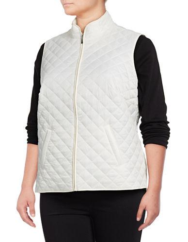Karen Scott Plus Quilted Puffer Vest-WHITE-2X