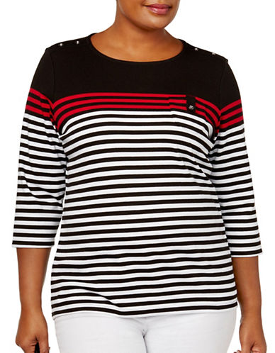 Karen Scott Plus Three-Quarter Sleeve Striped Top-BLACK MULTI-3X