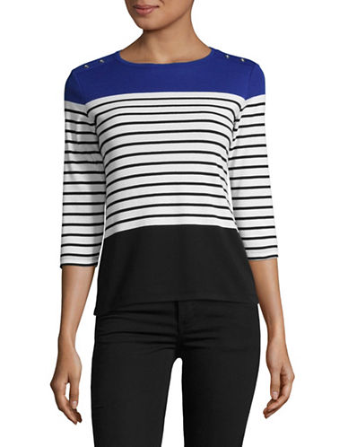 Karen Scott Petite Striped Colour Block Shirt-BLUE MULTI-Petite X-Small