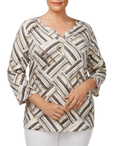 Karen Scott Plus Plus Asymmetrical Stripe-Print Top-CHESTNUT MULTI-3X