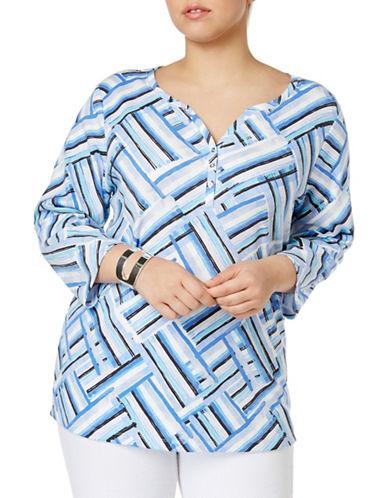 Karen Scott Plus Plus Asymmetrical Stripe-Print Top-BLUE MULTI-2X
