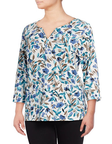 Karen Scott Plus Floral Three-Quarter Sleeve Henley-BLUE MULTI-2X