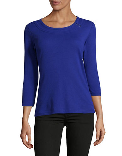 Karen Scott Petite Ring-Trim Scoop Neck Knit Top-BLUE-Petite Medium