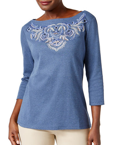Karen Scott Petite Embroidered Boat-Neck Top-BLUE-Petite Medium