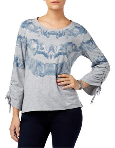 Style And Co. Printed Long Bell Sleeve Tee-GREY-X-Large