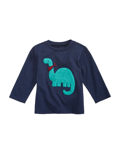 First Impressions Fuzzy Dino-Print Sweater-NAVY-18 Months
