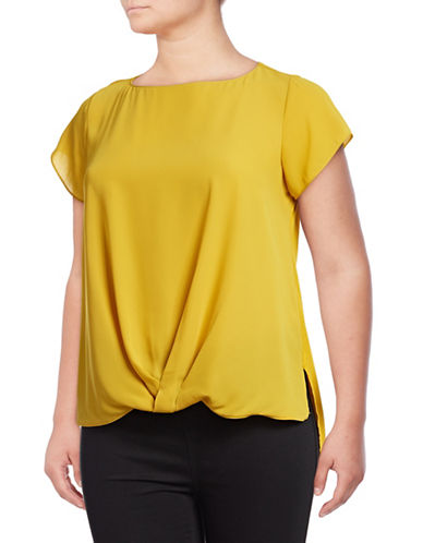 I.N.C International Concepts Plus Plus Twist-Front Top-YELLOW-2X