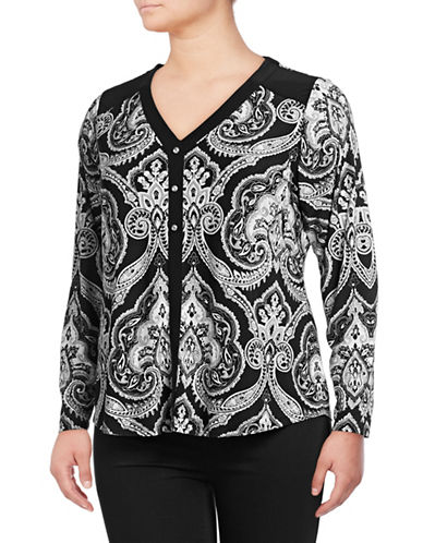 I.N.C International Concepts Plus Plus Printed Long-Sleeve Top-BLACK-2X