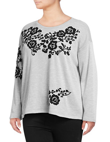I.N.C International Concepts Plus Embroidered Long Sleeve Sweatshirt-GREY-1X
